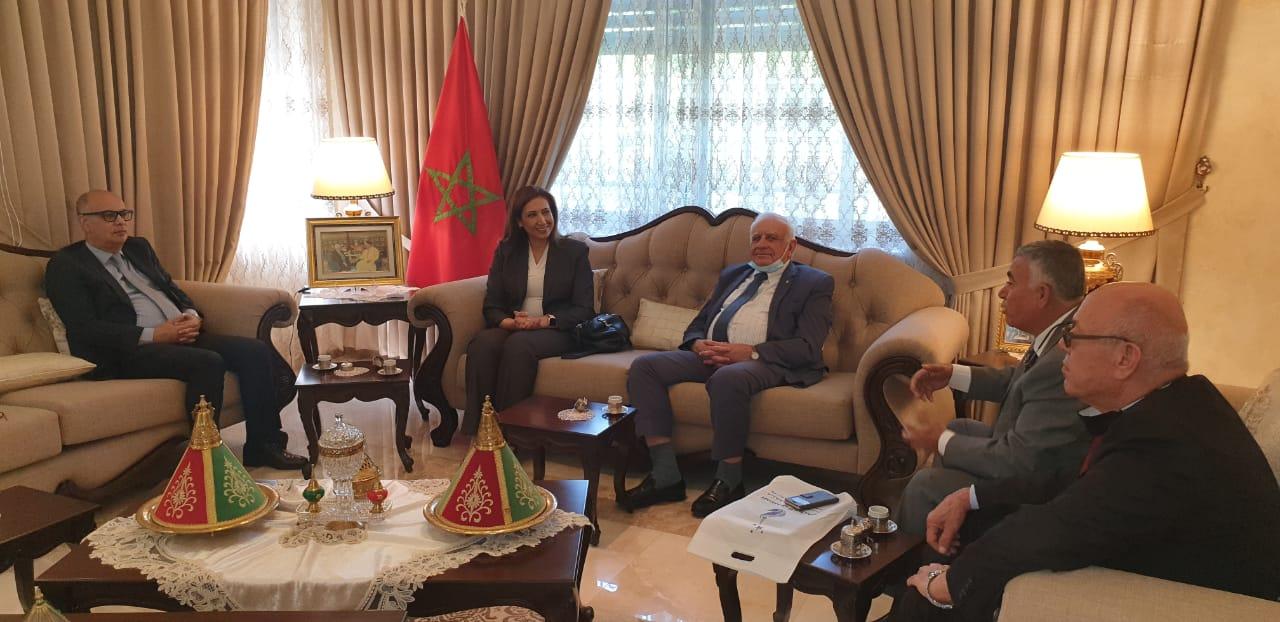 """ضمن التحضيرات لعقد المنتدى الخامس """"الإبداع والجائحة"""" وفد من المجلس الأعلى للابداع والتميز يلتقي السفير المغربي لدى دولة فلسطين"""